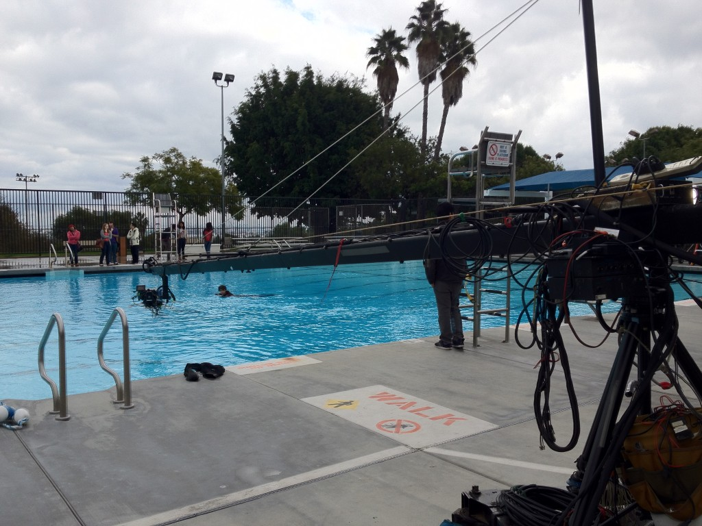Flying the EPIC over the pool , on a 30 foot jib