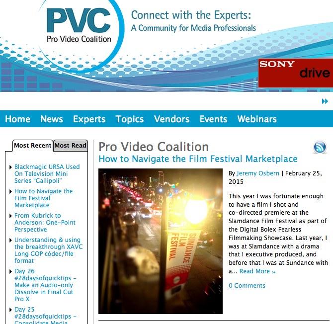 ProVideoCoalition Home Page Jeremy Osbern Film Festival Market Article